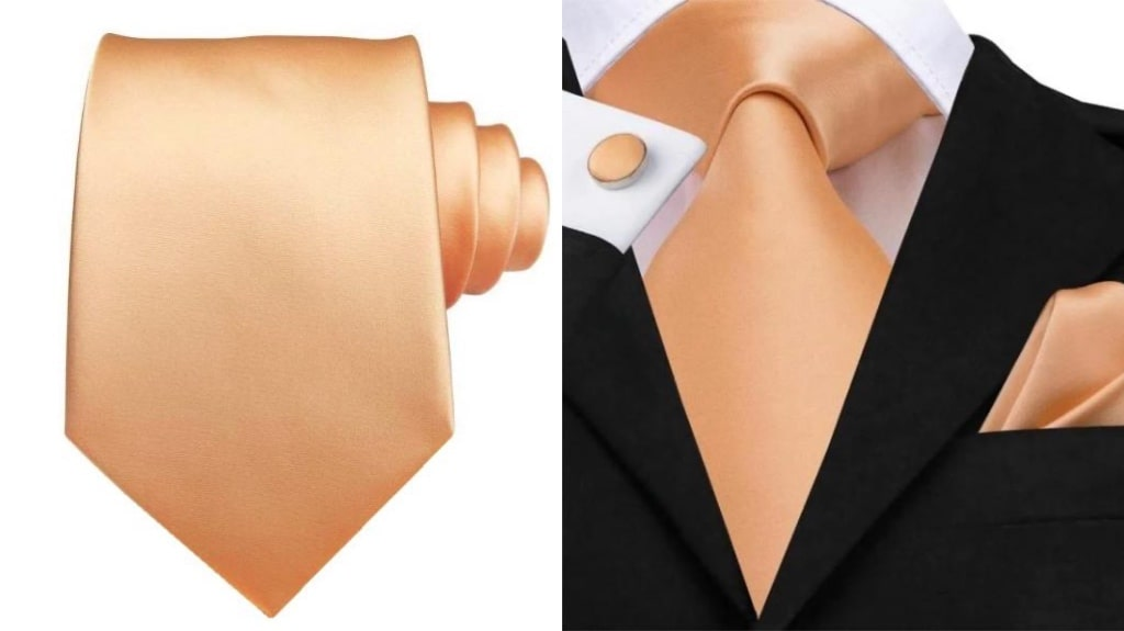 Rose gold silk tie for men