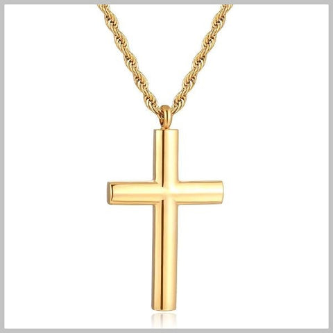 Rounded gold cross necklace with chain
