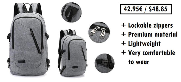 Secure backpack with lockable zippers