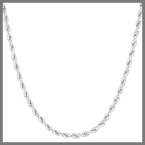 Silver rope chain necklace for men
