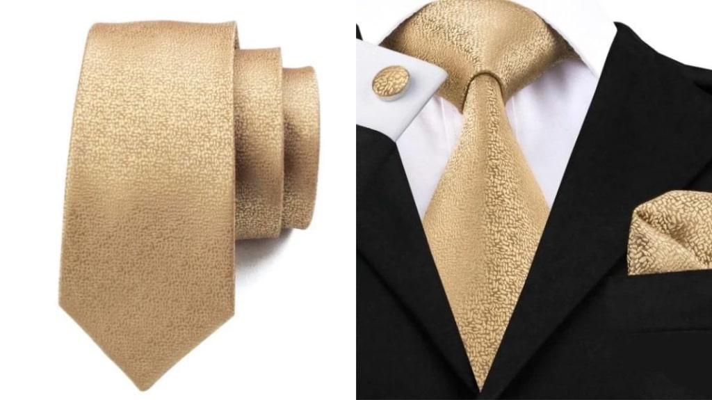 Solid gold silk tie for men