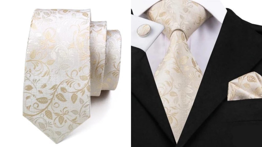 White and gold silk tie for men