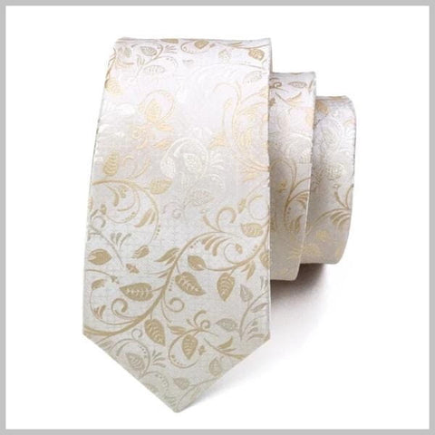 White & gold floral tie made of silk