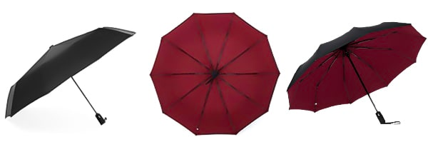 Display from three angles of the wine red & black 2 color umbrella