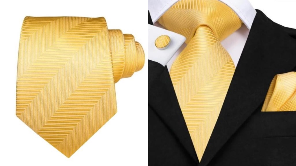Yellow gold silk tie for men