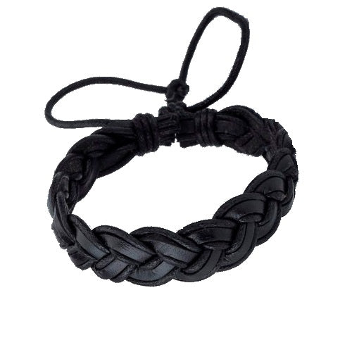 Classy Men Black Leather Braided Bracelet - Classy Men Collection