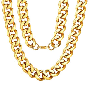Classy Men 10mm Gold Curb Chain Necklace