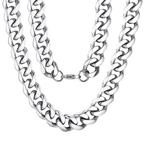 Classy Men 10mm Silver Curb Chain Necklace