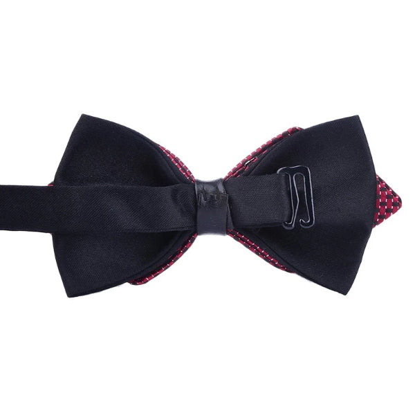 Classy Men Wine Red Dotted Pre-Tied Diamond Bow Tie