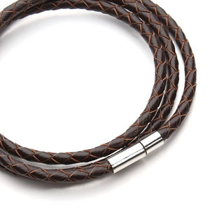 Classy Men Dark Brown Multi-Layer Leather Bracelet