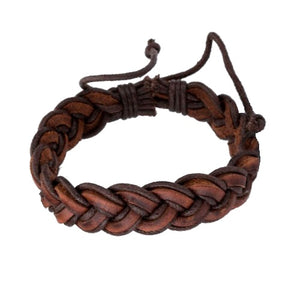 Classy Men Brown Leather Braided Bracelet - Classy Men Collection