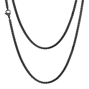 Classy Men 2mm Black Box Chain Necklace