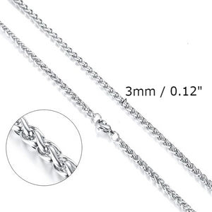 Classy Men 3mm Silver Braided Wheat Chain Necklace