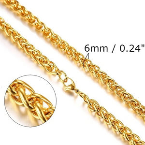 Classy Men 6mm Gold Braided Wheat Chain Necklace