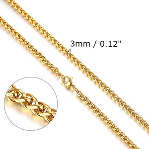 Classy Men 3mm Gold Braided Wheat Chain Necklace