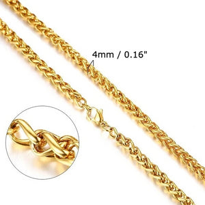 Classy Men 5mm Gold Braided Wheat Chain Necklace
