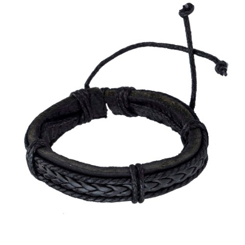 Classy Men Black Thick Leather Bracelet - Classy Men Collection