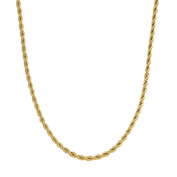 3mm Gold Twisted Rope Chain Necklace