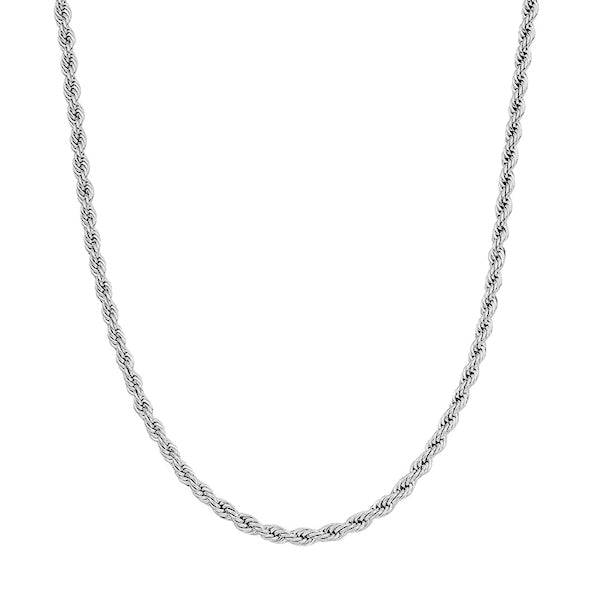 3mm Silver Twisted Rope Chain Necklace