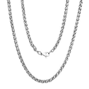 Classy Men 3mm Stainless Steel Wheat Chain Necklace