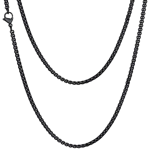 Classy Men 3mm Black Box Chain Necklace