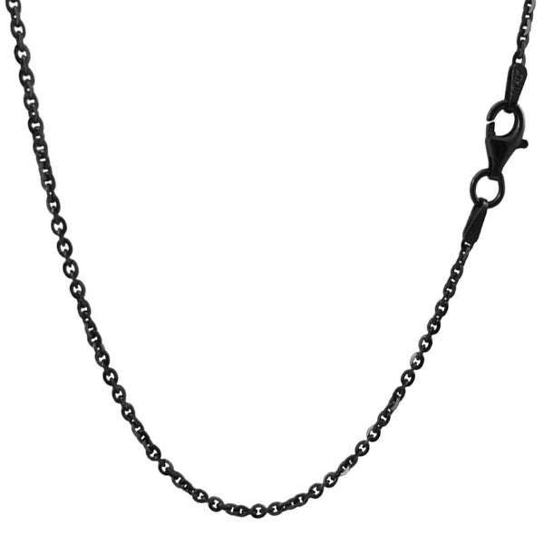 Classy Men 3mm Black Rolo Chain Necklace