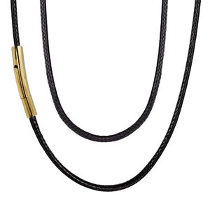 Classy Men 3mm Gold Leather Chain Necklace