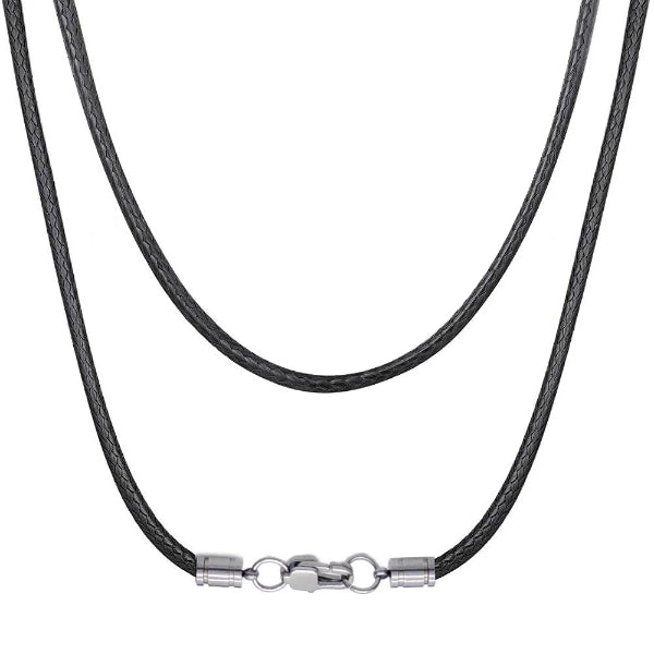 Classy Men 3mm Woven Leather Chain Necklace