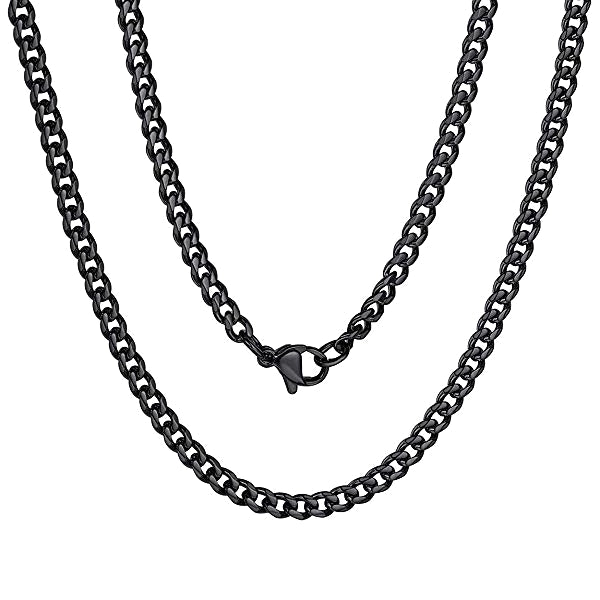 Classy Men 3mm Black Curb Chain Necklace
