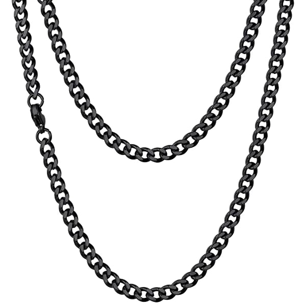 Classy Men 4.5mm Black Curb Chain Necklace