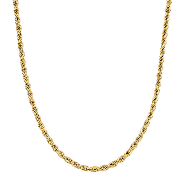 4mm Gold Rope Chain Necklace Made Of 316L Stainless Steel