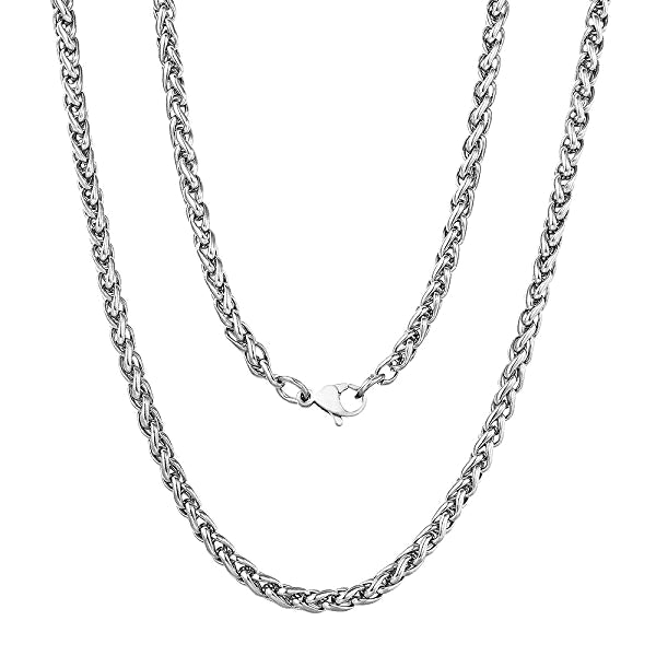Classy Men 4mm Stainless Steel Wheat Chain Necklace