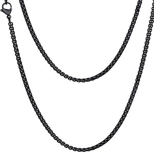 Classy Men 4mm Black Box Chain Necklace