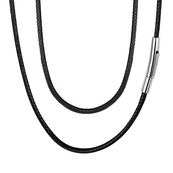 Classy Men 4mm Braided Leather Chain Necklace