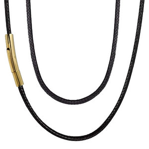 Classy Men 4mm Gold Leather Chain Necklace