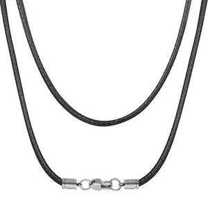 Classy Men 4mm Woven Leather Chain Necklace