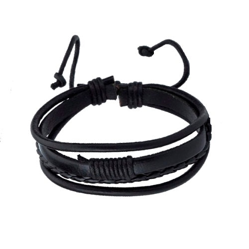Classy Men Black Triple Leather Bracelet - Classy Men Collection