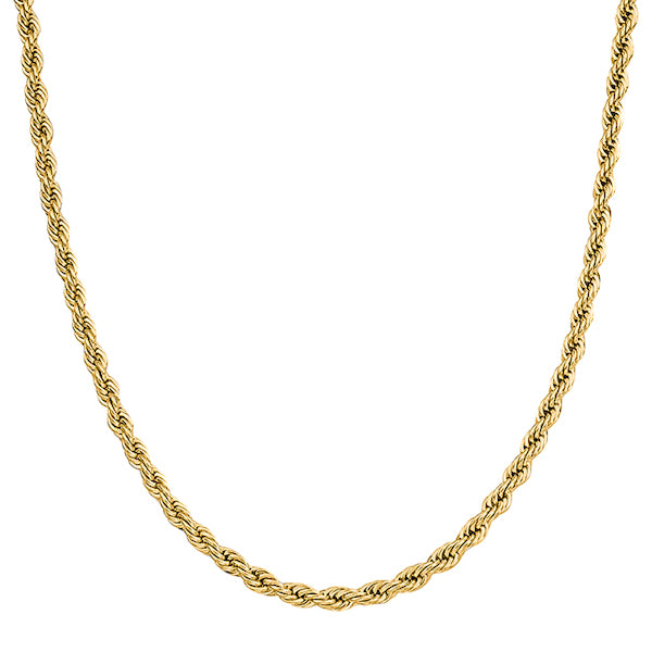 5mm Gold Rope Chain Necklace Made Of 316L Stainless Steel