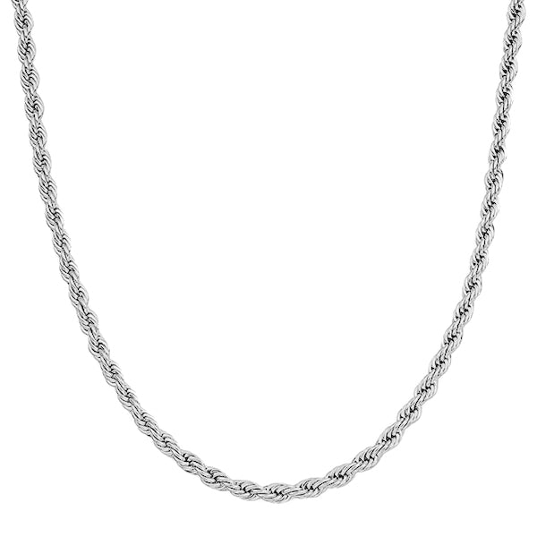 5mm Silver Rope Chain Necklace Made Of 316L Stainless Steel