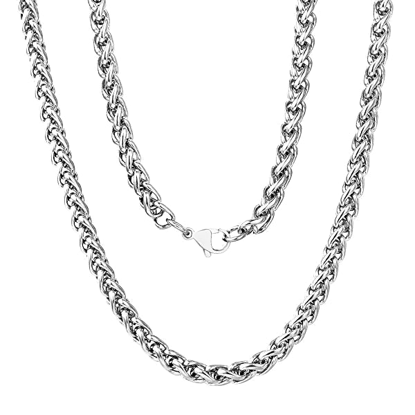 Classy Men 5mm Stainless Steel Wheat Chain Necklace