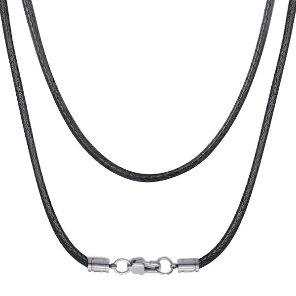 Classy Men 5mm Woven Leather Chain Necklace
