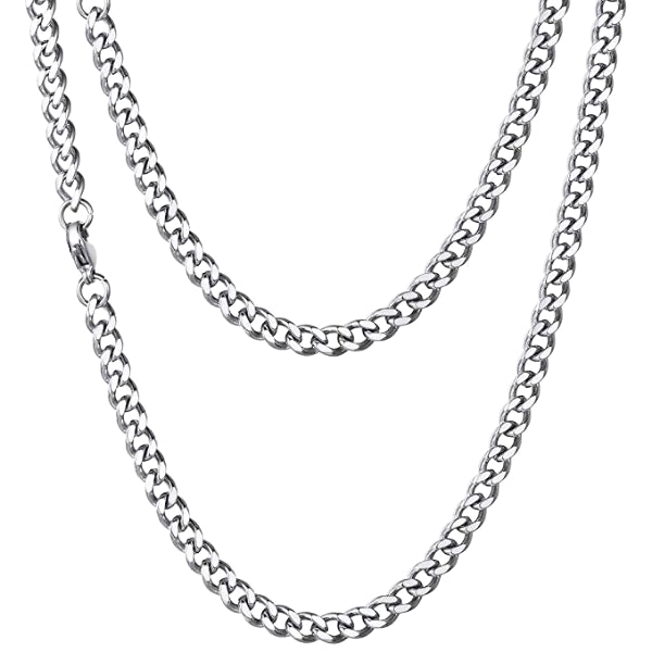 Classy Men 5mm Silver Curb Chain Necklace