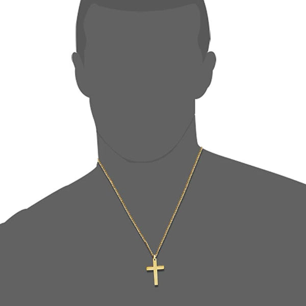 Classy Men Gold Christian Cross Pendant Necklace