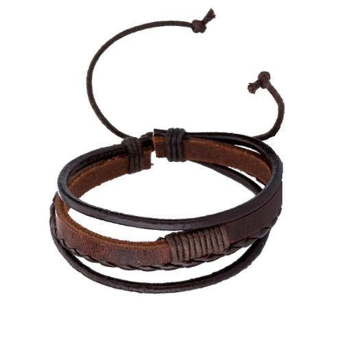 Classy Men Brown Triple Leather Bracelet - Classy Men Collection