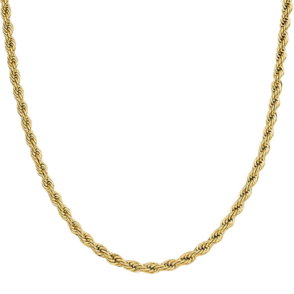 6mm Gold Rope Chain Necklace Made Of 316L Stainless Steel