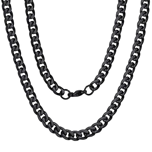 Classy Men 6mm Black Curb Chain Necklace