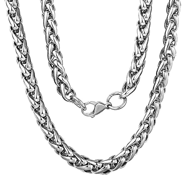 Classy Men 7.5mm Stainless Steel Wheat Chain Necklace