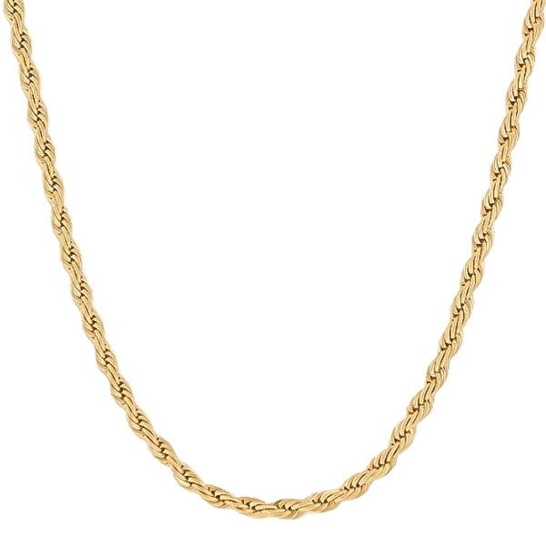 7mm Gold Rope Chain Necklace Made Of 316L Stainless Steel