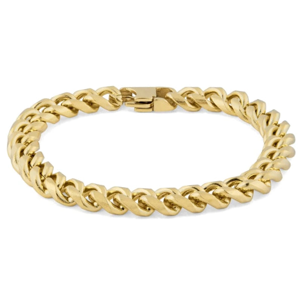 Classy Men 8mm Gold-Toned Chain Bracelet