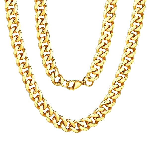 Classy Men 8mm Gold Curb Chain Necklace